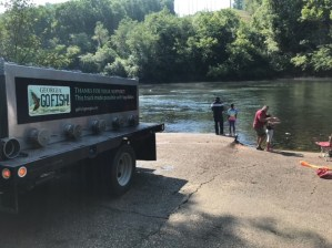 trout stocking Buford Dam anglers BH 7-11-18