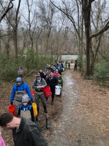 Volunteer Trout Stockers in Line at Chattahoochee DH