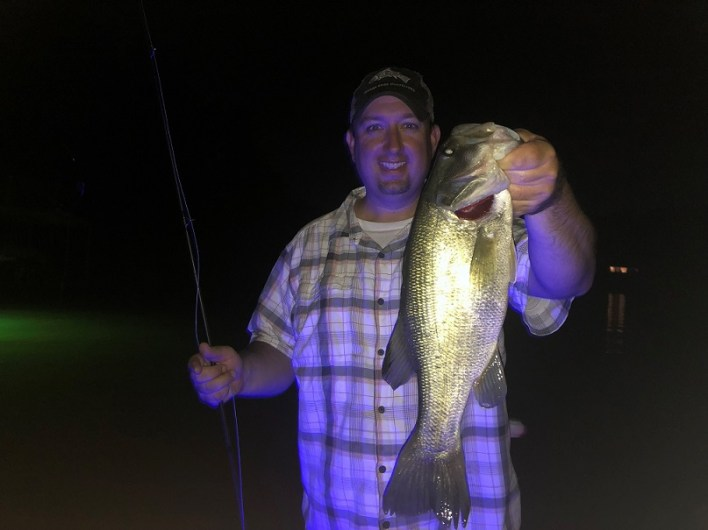 Catching those bass on Lake Lanier at night