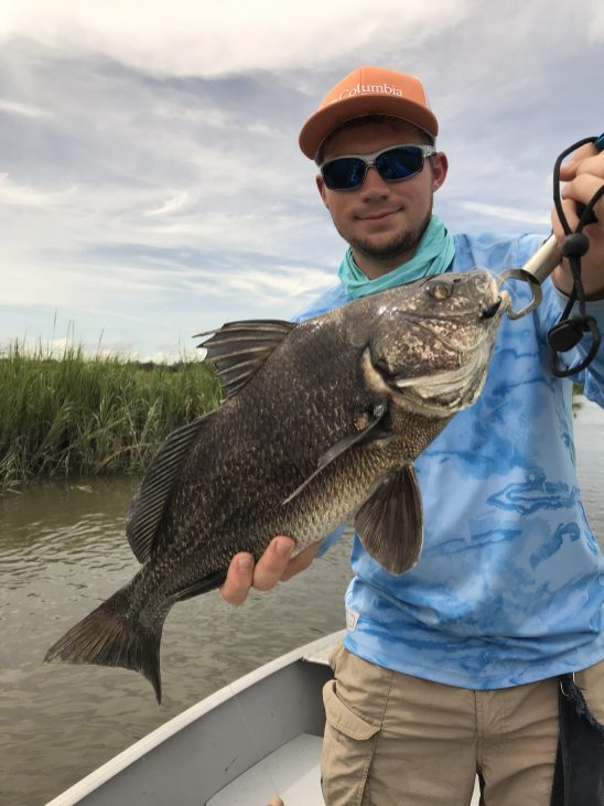 Wyatt Crews caught this perfect eating-sized black drum on Friday with a piece of shrimp threaded on a Redfish Wrecker Jighead.