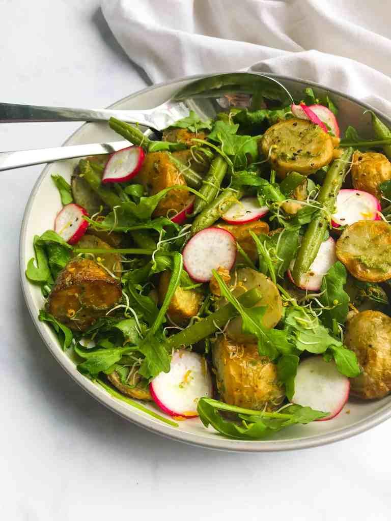 Walnut Pesto Potato Salad with Green Beans & Radish. Vegan, GF & Healthy!
