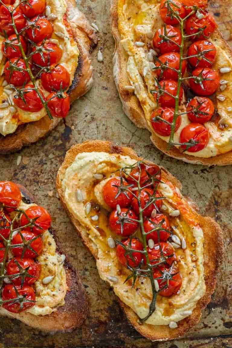 Balsamic Roasted Tomato & Hummus Toast - Vegan, GF & Healthy! Georgie Eats.