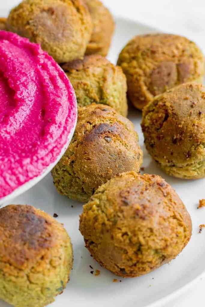 5 Ingredient Falafel served with Beetroot Hummus. Vegan, GF & Healthy! Georgie Eats.