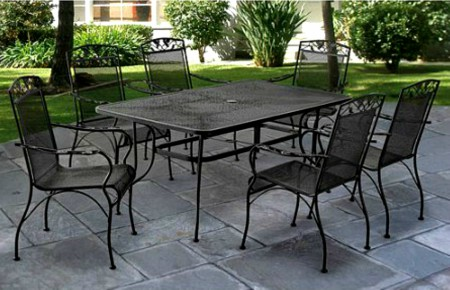 Beautiful 7 Piece Wrought Iron Mesh Patio Dining Set Seats 6 With Table Outdoor Yard  Black
