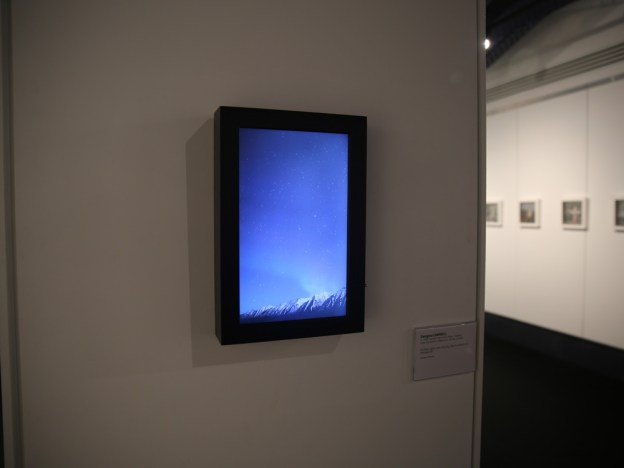 Installation view: Northern Lights with shooting star in Iceland, 2014.