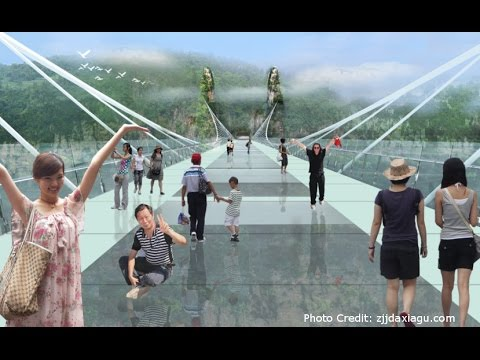 Safety Test of World's Longest Glass Bridge