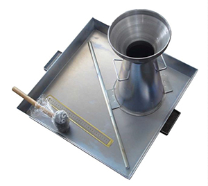 The Slump Cone test set is used for the determination of the consistency and workability of fresh concrete.