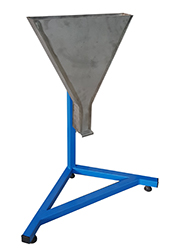 The V-Funnel Apparatus is used to evaluate the segregation resistance of freshly mixed self compacting concrete by observing the flowing speed