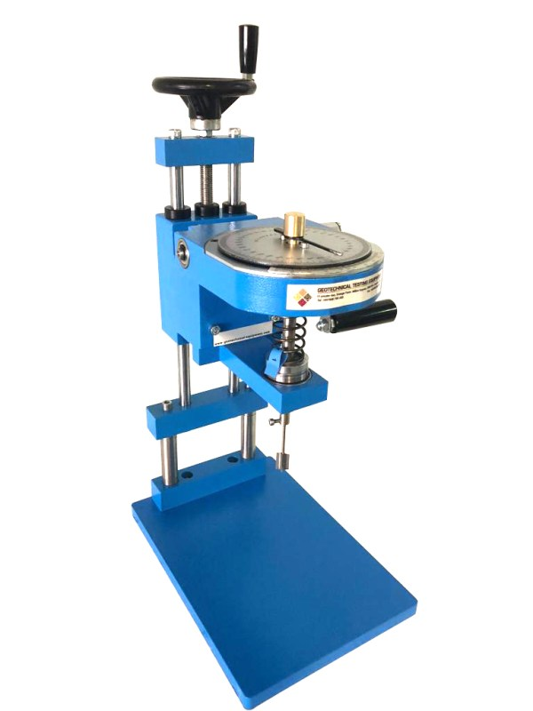 The Laboratory Vane Apparatus is used to determine the shear strength in soft soils of undisturbed or remolded samples.
