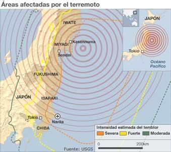 Epicentro terremoto Japón