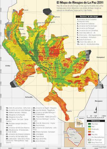 Mapa Riesgos geotécnicos La Paz Bolivia