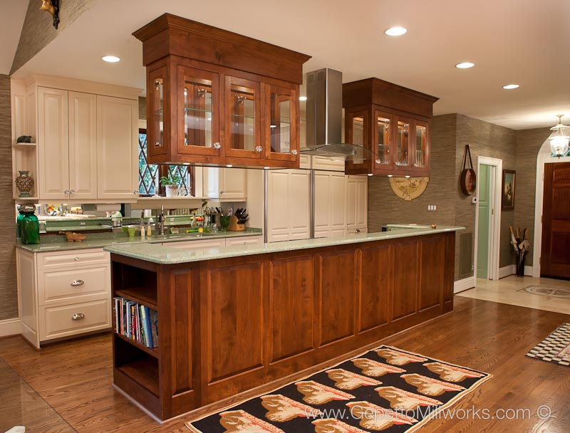 Hanging cabinets in island based kitchen | Gepetto Millworks