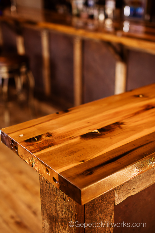 Custom Designed Rustic Solid Wood Restaurant Bar