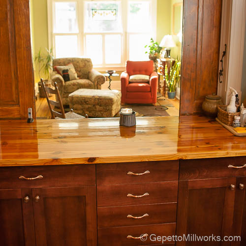 Wooden Countertops blends well into other rooms and look more like furniture than fabricated materials.