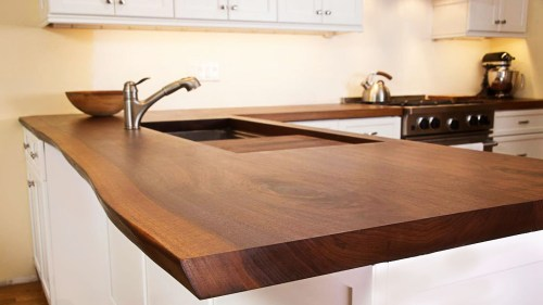 wood grain counter top modern kitchen