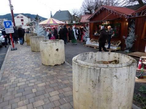 Les blocs de béton necessaires à la sécurité du marché de Noël