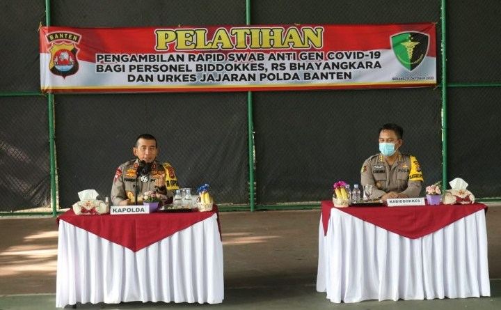 Kapolda Banten Buka Pelatihan Pengambilan Rapid Swab Anti Gen Covid-19