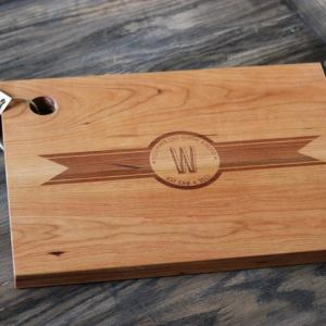 Initial and Date Personalized Ribbon Banner Cutting Board
