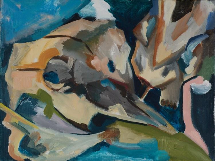 2014- Schedel.1- acryl op doek- 40x 30 cm