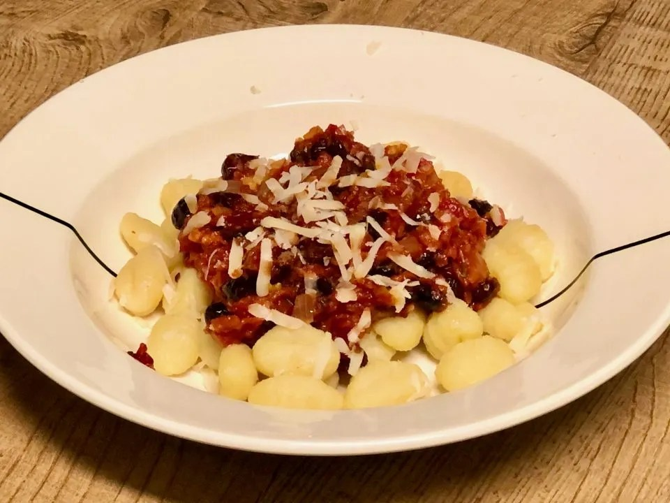 gnocchi met cranberry saus