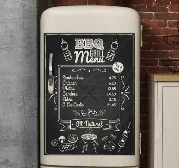 Koelkast stickers Barbecue Grill Menu