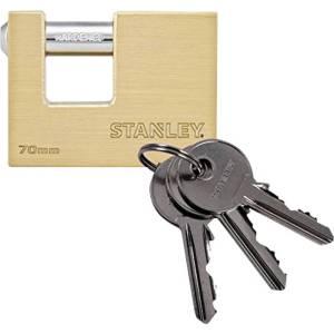 Stanley 81091 371 401 Hangslot 70 mm Messing, Staal Sleutelslot