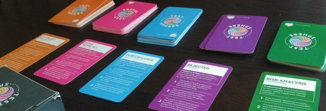 Test sphere cards laid out on a table