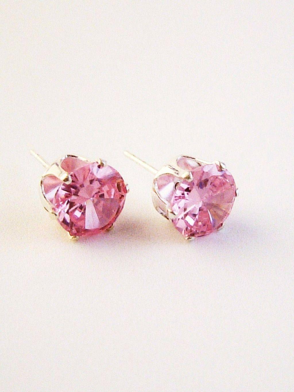 Pink Zircon Round Cut Silver Stud Earrings Genuine CZ