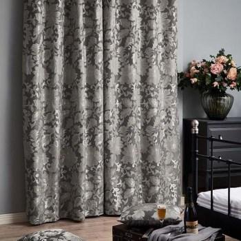 Naples Studio G Embossed Velvet Stone Beige Ring Top Curtains 9 Sizes