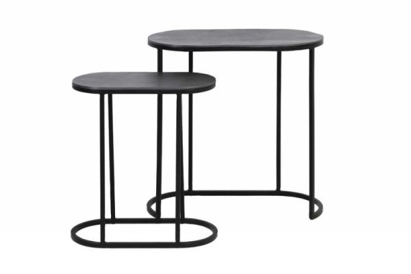 Bocav 2 x Antique Black Metal Side Tables