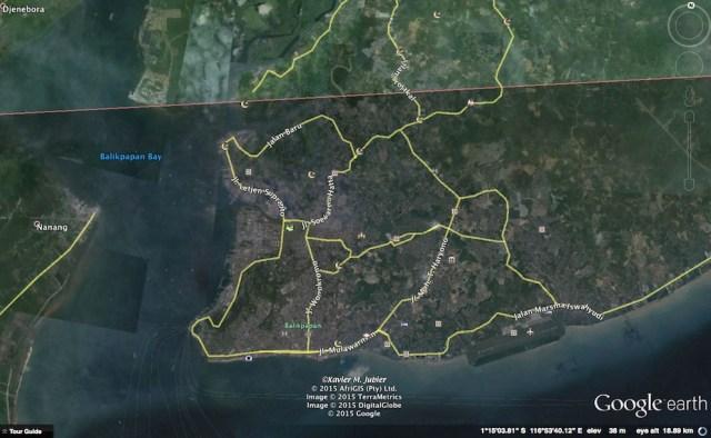 Jalur GMT 2016 yang melintasi Balikpapan. Kredit: Xavier Jubier / Google Earth Pro