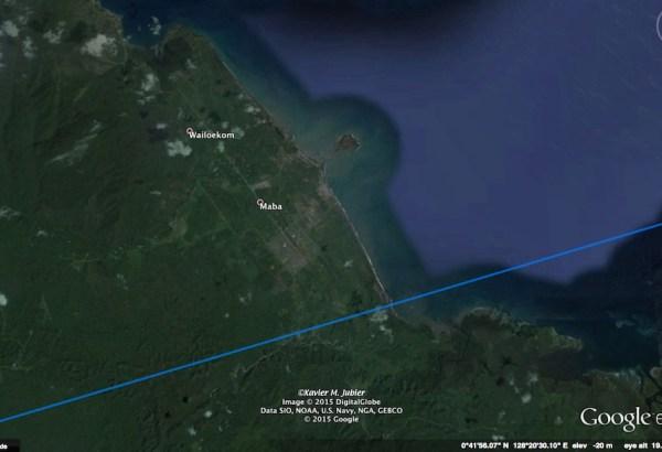 Maba, ibukota Kabupaten Halmahera Timur. Kredit: Xavier Jubier/Google Earth Pro