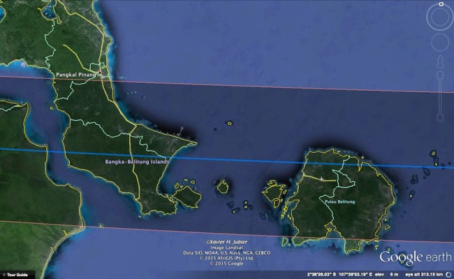 Jalur GMT di Bangka Belitung. Kredit: Xavier Jubier / Google Earth Pro