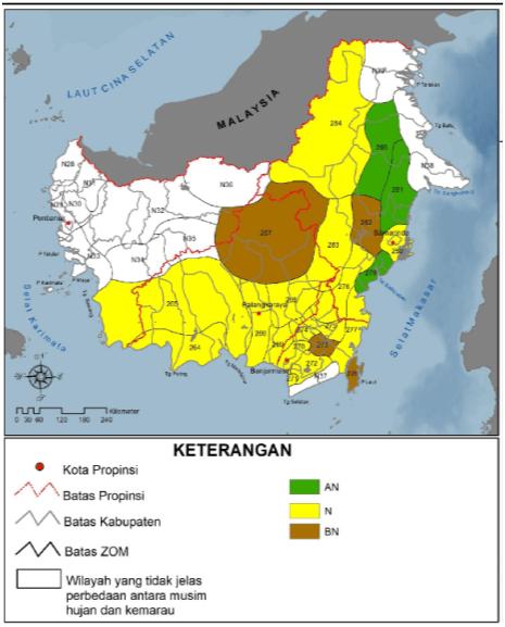 Gambar 1. Curah Hujan Klimatologis (1980-2010) di Kalimantan, AN (Atas Normal), N (Normal), BN (Bawah Normal) (Buku Prakiraan Musim Hujan 2014/2015 BMKG, www.bmkg.go.id).