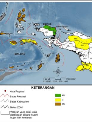 Gambar 5. Curah Hujan Klimatologis (1980-2010) di Ternate, AN (Atas Normal), N (Normal), BN (Bawah Normal) (Buku Prakiraan Musim Hujan 2014/2015 BMKG, www.bmkg.go.id).