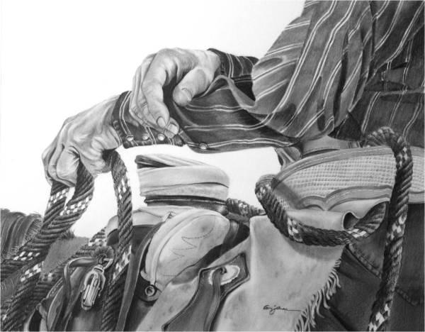 Cowboy and Horse Pencil Drawing