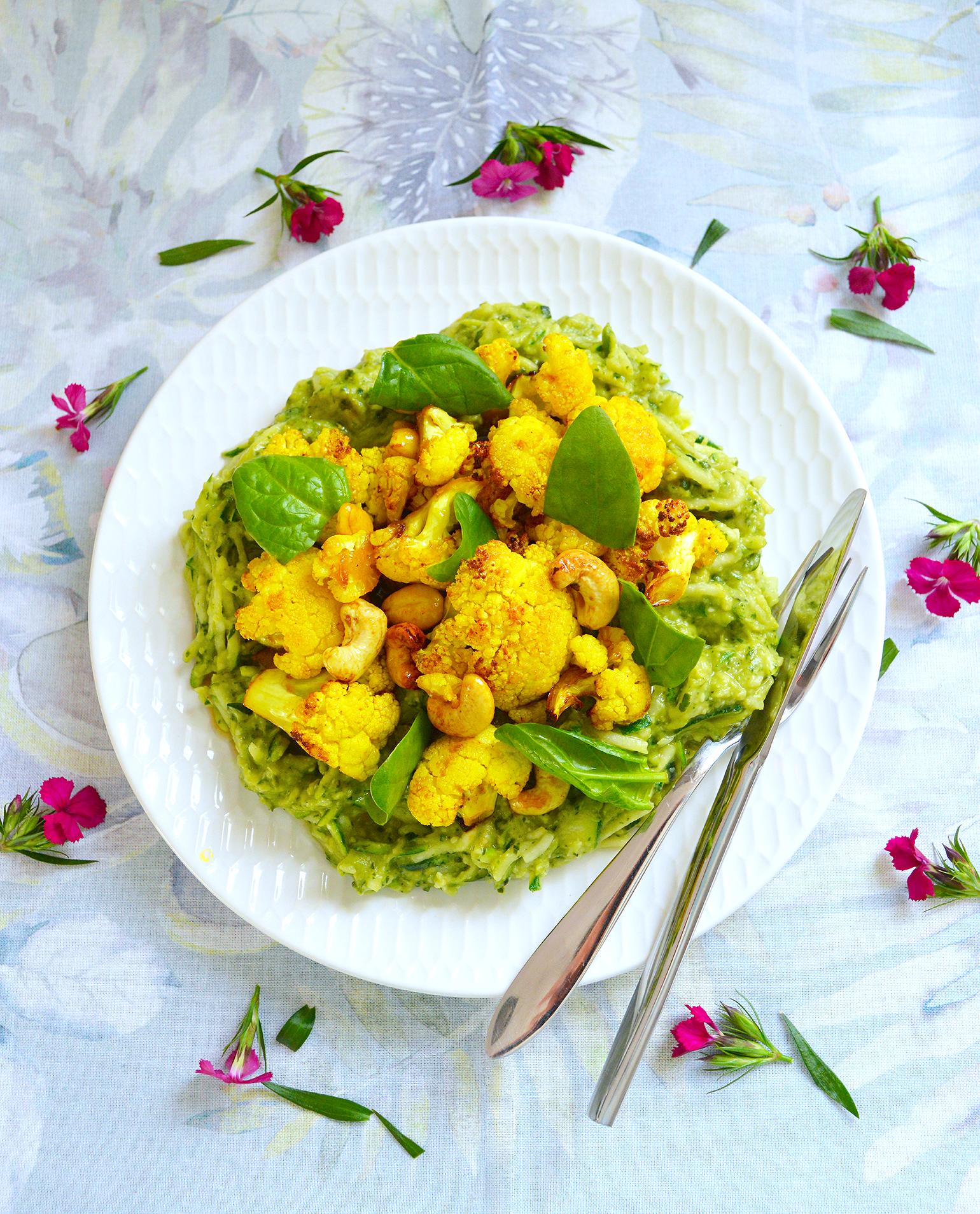 Cauliflower & Avocado Pesto Courgette Spirelli