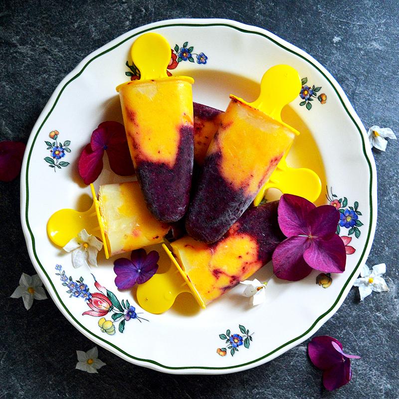 Mango & Blackberry Popsicles