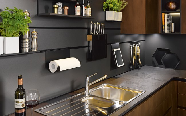 Lava Black Wall Panelling with Integrated Rail - Schuller German Kitchens in Cardiff