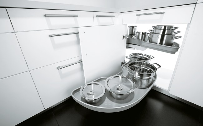 Schuller German Kitchens - Storage Solutions - Pull Out Storage - pull out le-man corner unit