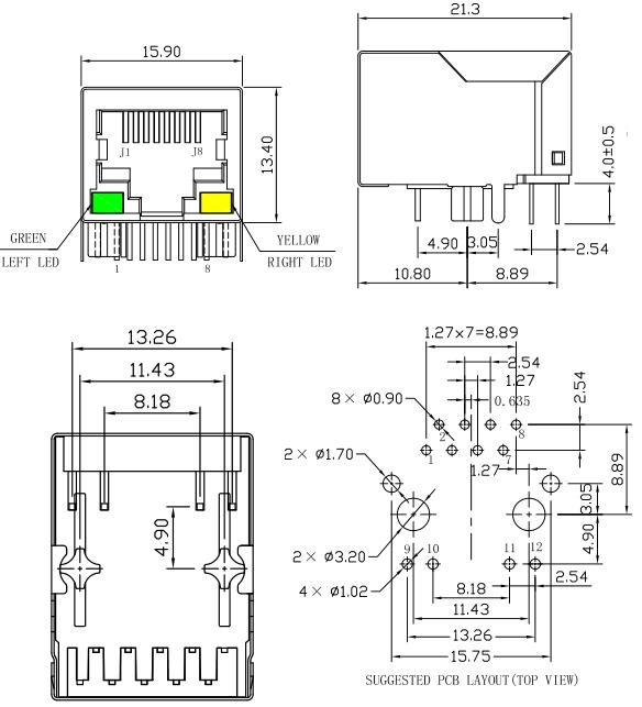 HR911105A HanRun RJ45 Lan-Verbindungsstück, Microduino