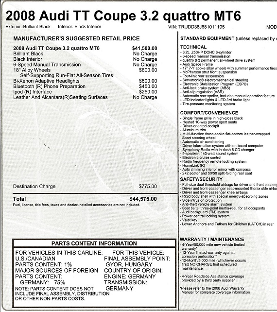 2008 Audi TT 3.2 6-speed