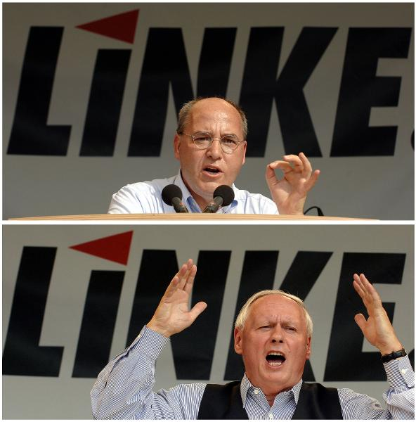 Left leaders Gregor Gysi (ex East German Communist, above) and Oskar Lafontaine (ex-SPD, below)