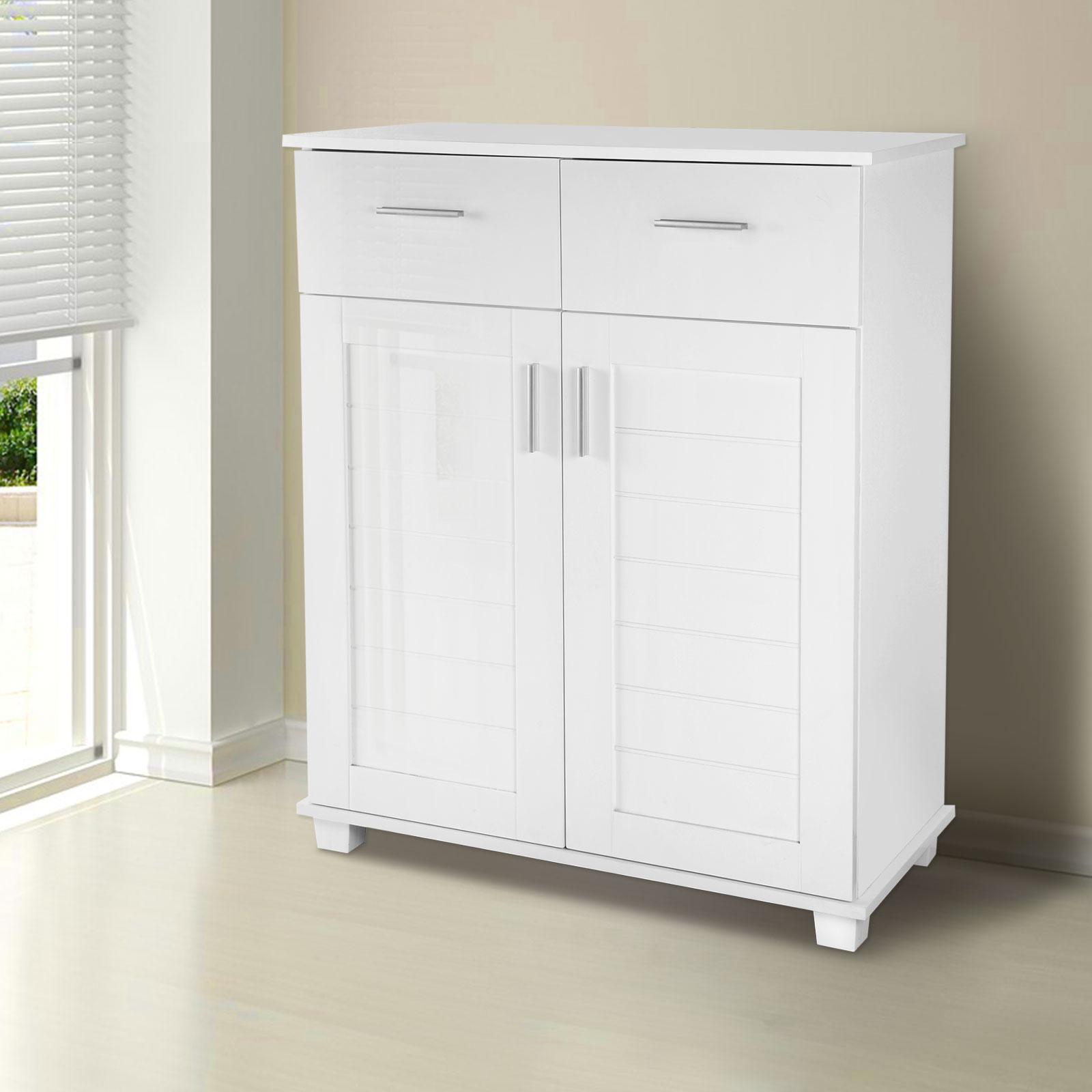 High Gloss Shoe Storage Cabinet Organizer Closet 4 Shelf
