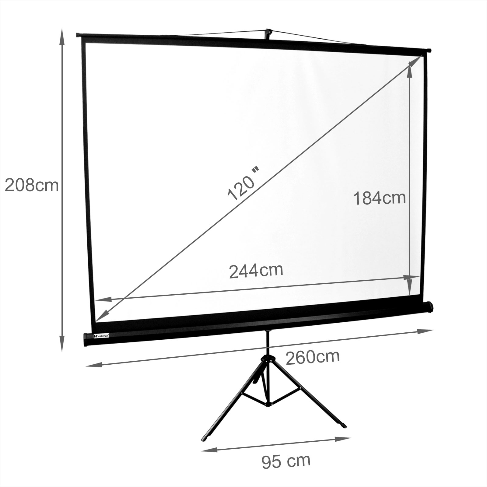 "120"" Inch Projector Screen Portable Tripod Conference"