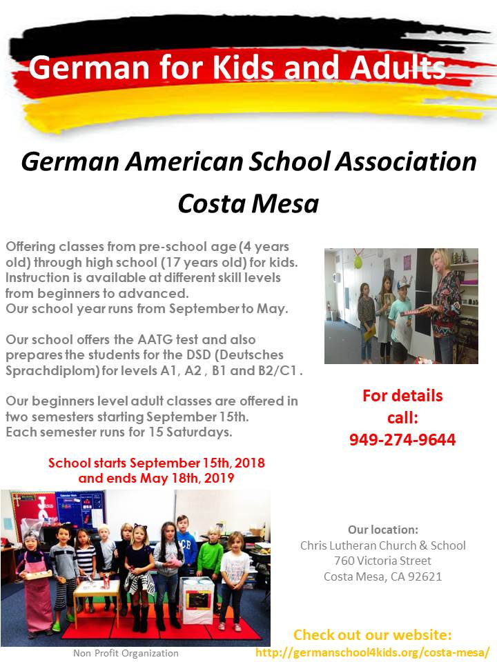 Costa Mesa School  German American School Association
