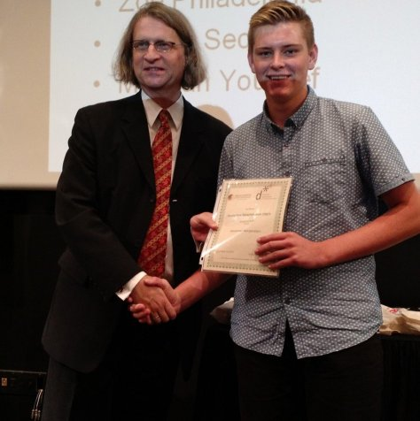 Alex M and Deputy Consul General Stefan Biedermann from the German Consulate Los Angeles presented DSD Diploma