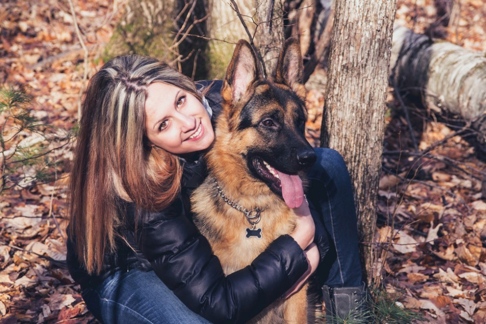 German Shepherd with Woman