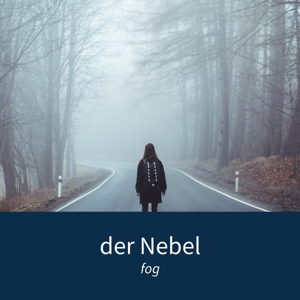 "Image showing a person walking in the fog and the caption ""der Nebel - fog"""
