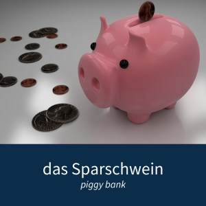 "Image showing a piggy bank and some coins with the caption ""das Sparschwein - piggy bank"""